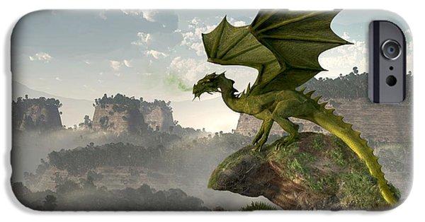 Dungeons iPhone Cases - Green Dragon iPhone Case by Daniel Eskridge