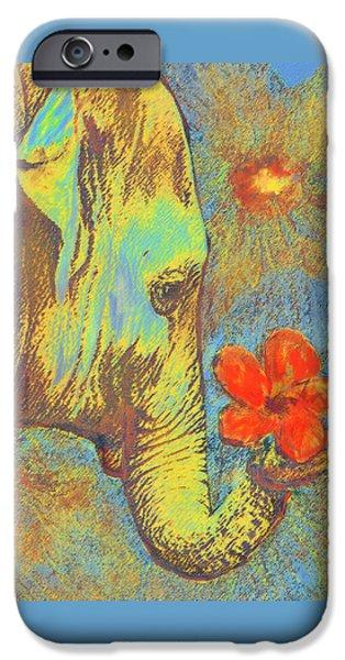 Elephants Digital iPhone Cases - Green Elephant iPhone Case by Jane Schnetlage