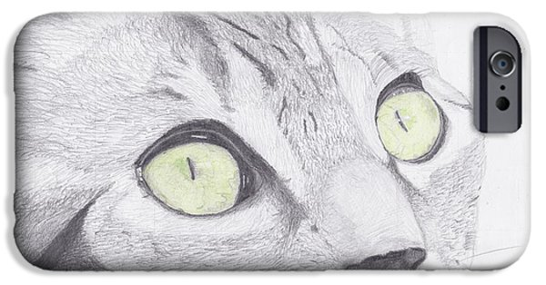 Feline iPhone Cases - Green Eyed Cat iPhone Case by David Smith