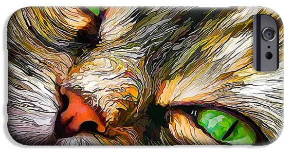 Photo Manipulation Digital Art iPhone Cases - Green-Eyed Tortie iPhone Case by Bill Caldwell -        ABeautifulSky Photography