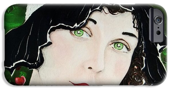 Lips iPhone Cases - Green Eyes and Red Lips iPhone Case by Barbara Chase