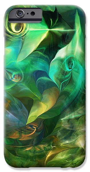 Abstract Digital iPhone Cases - Green Fantasy 082413 iPhone Case by David Lane