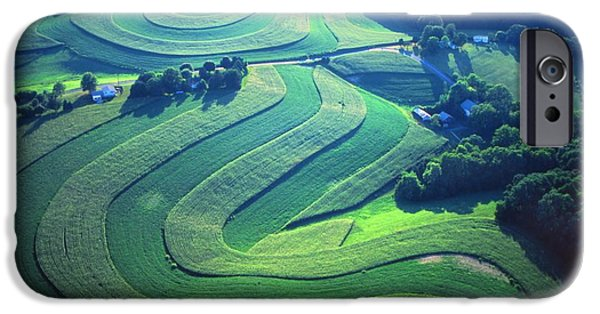 Contour Plowing iPhone Cases - Green farm contours aerial iPhone Case by Blair Seitz