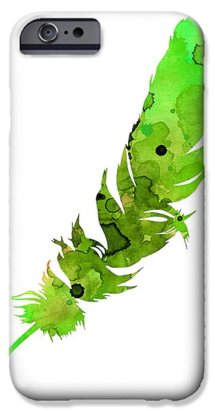 Abstract Jewelry iPhone Cases - Green feather watercolor large poster iPhone Case by Joanna Szmerdt