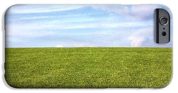 Field. Cloud Digital Art iPhone Cases - Green Field Blue Sky iPhone Case by Natalie Kinnear