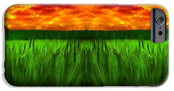 Field. Cloud iPhone Cases - Green Fields in the Morning iPhone Case by Bruce Nutting