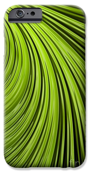 Chaos iPhone Cases - Green Flow Abstract iPhone Case by John Edwards