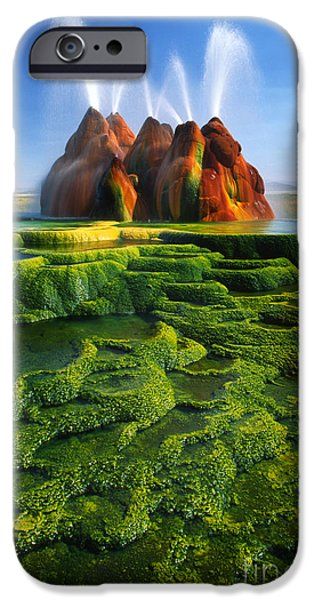 Alga iPhone Cases - Green Fly Geyser iPhone Case by Inge Johnsson