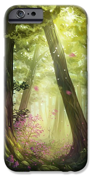 Tree Print Digital iPhone Cases - Green Forest iPhone Case by Cassiopeia Art