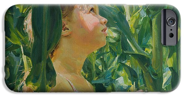 Child Drawings iPhone Cases - Green forest of corn iPhone Case by Victoria Kharchenko
