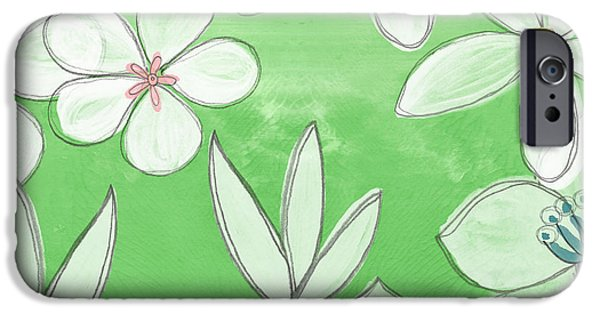Floral Art iPhone Cases - Green Garden iPhone Case by Linda Woods