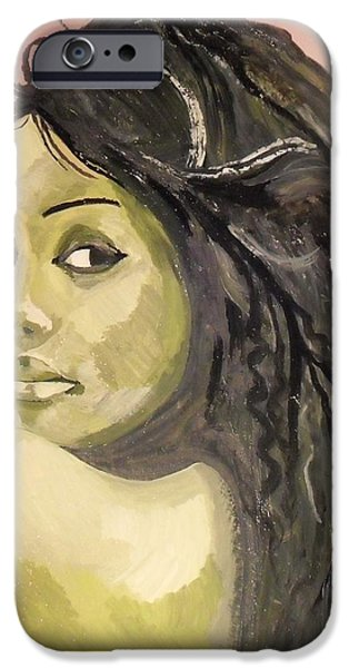 Green girl  iPhone Case by Roger Medcalf