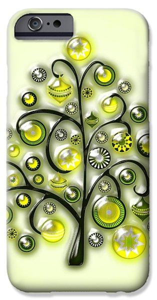 Cute iPhone Cases - Green Glass Ornaments iPhone Case by Anastasiya Malakhova