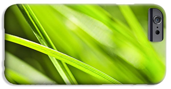 Summer iPhone Cases - Green grass abstract iPhone Case by Elena Elisseeva