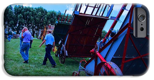 Amish Community Photographs iPhone Cases - Green Grass and Old Equipments iPhone Case by Tina M Wenger