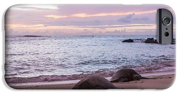 Wildlife Photographer iPhone Cases - Green Hawaiian Sea Turtles At Sunset - Oahu Hawaii iPhone Case by Brian Harig