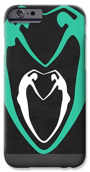 Love Making Paintings iPhone Cases - Green heart iPhone Case by Naxart Studio