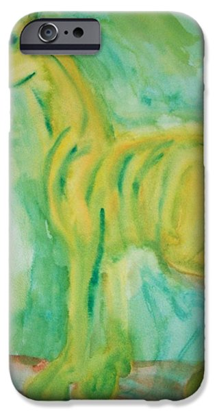 Component Paintings iPhone Cases - Green Hope iPhone Case by Hilde Widerberg