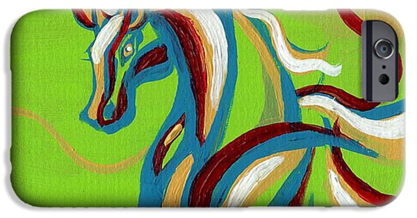 Alizarin Crimson iPhone Cases - Green Horse iPhone Case by Genevieve Esson