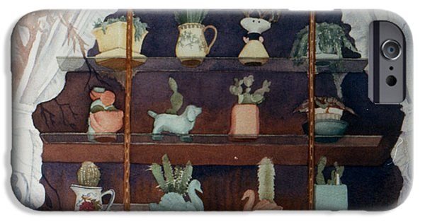 Floral Still Life Paintings iPhone Cases - Green House Window iPhone Case by Mary Helmreich