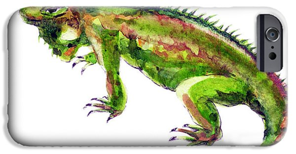 Iguana iPhone Cases - Green Iguana iPhone Case by Yoshiharu Miyakawa