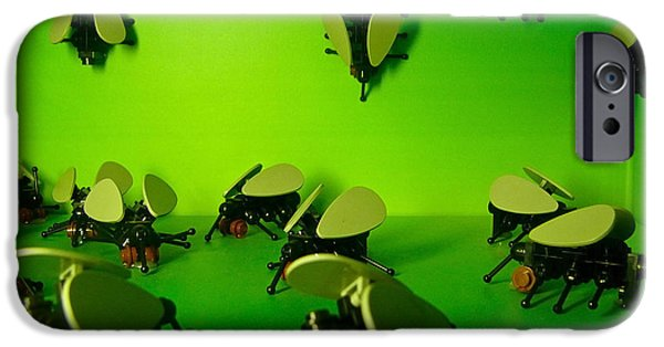Toy Store iPhone Cases - Green Lego Flies iPhone Case by Amy Cicconi