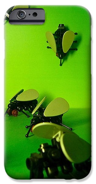 Green Lego Flies iPhone Case by Amy Cicconi