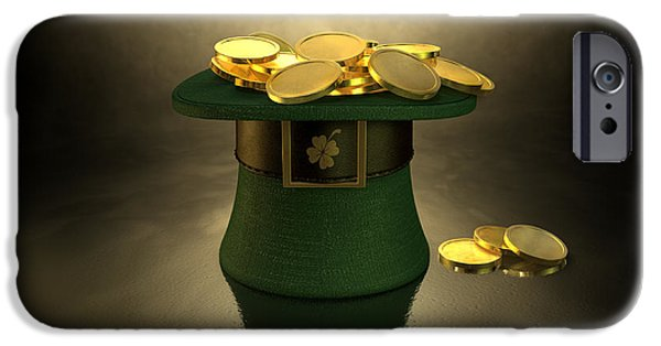 Valuable iPhone Cases - Green Leprechaun Hat Filled With Gold Coins iPhone Case by Allan Swart