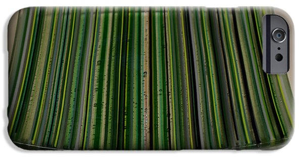 Stripes Glass iPhone Cases - Green Linear Plate iPhone Case by Rosalind Duffy