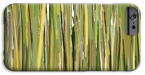 Green And Yellow Abstract iPhone Cases - Green Melodies iPhone Case by Lourry Legarde