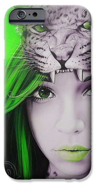 'Green Moon' iPhone Case by Christian Chapman Art