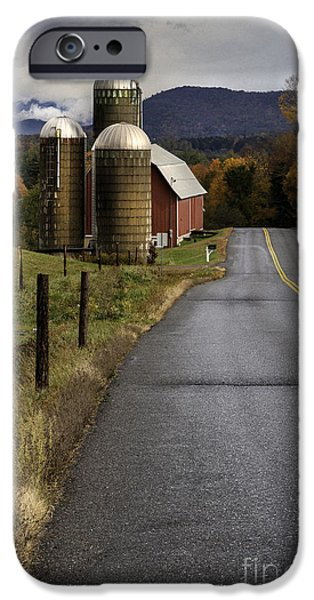 Scenic Drive iPhone Cases - Green Mountain Country Roads iPhone Case by Thomas Schoeller
