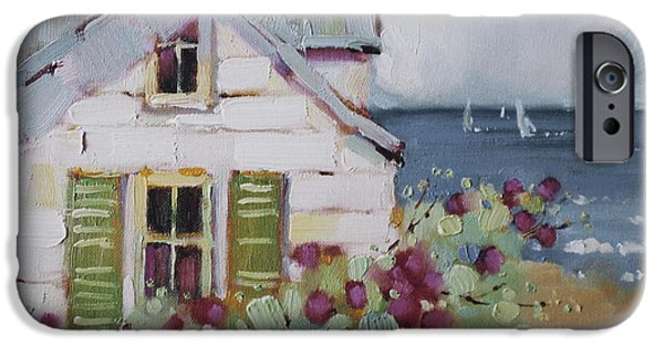 Sailboat Paintings iPhone Cases - Green Nantucket Shutters iPhone Case by Joyce Hicks