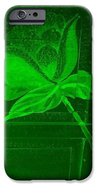 Botanic Illustration Digital Art iPhone Cases - Green Negative Wood Flower iPhone Case by Rob Hans