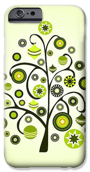 Yellow iPhone Cases - Green Ornaments iPhone Case by Anastasiya Malakhova