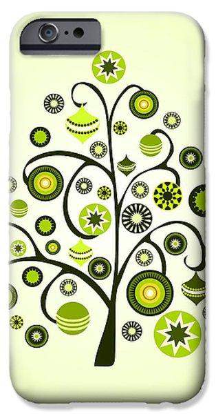 Spirit iPhone Cases - Green Ornaments iPhone Case by Anastasiya Malakhova