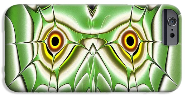 Owls iPhone Cases - Green Owl iPhone Case by Anastasiya Malakhova