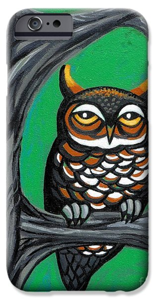 Hooters iPhone Cases - Green Owl iPhone Case by Genevieve Esson