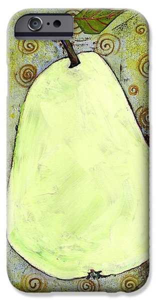 Canvasdecor iPhone Cases - Green Pear Art With Swirls iPhone Case by Blenda Studio