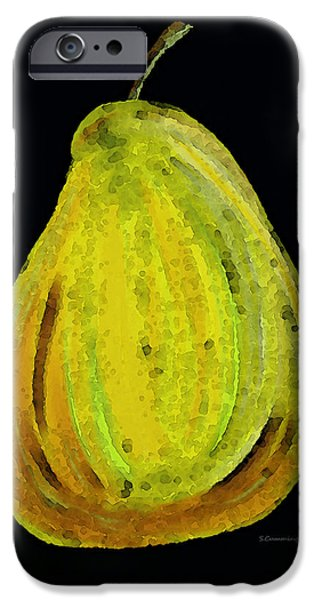 Pear iPhone Cases - Green Pear - Contemporary Fruit Art Food Print iPhone Case by Sharon Cummings