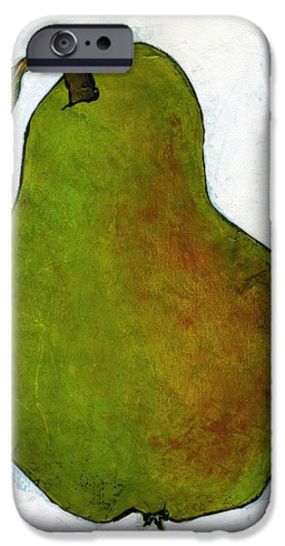 Pears iPhone Cases - Green Pear on White iPhone Case by Blenda Studio