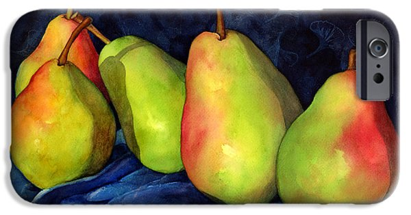 Pears Paintings iPhone Cases - Green Pears iPhone Case by Hailey E Herrera
