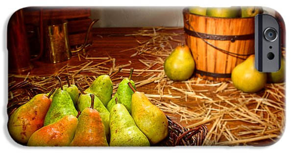 Farm Stand iPhone Cases - Green Pears in Rustic Basket iPhone Case by Olivier Le Queinec