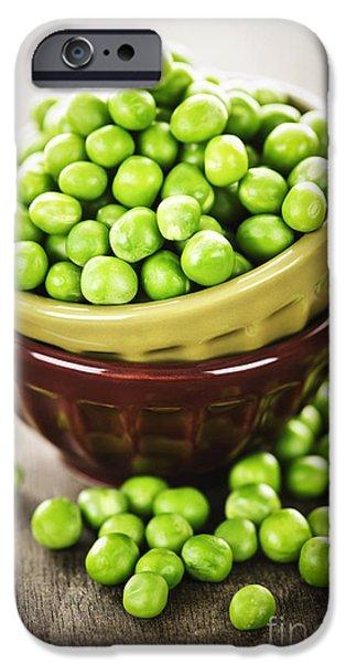 Organic Foods iPhone Cases - Green peas iPhone Case by Elena Elisseeva
