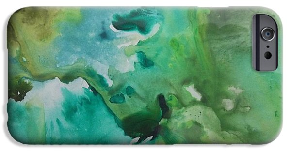 Free Form Paintings iPhone Cases - Green Piece iPhone Case by Audrey Bunchkowski