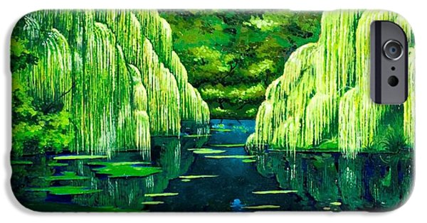 Willow Lake iPhone Cases - Green pond iPhone Case by Luigi Maria De Rubeis