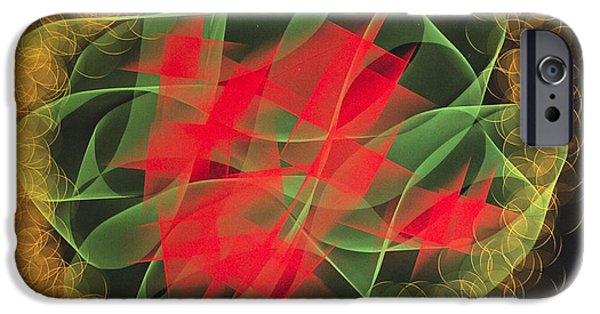 Computer Design iPhone Cases - Green Red Gold Abstract iPhone Case by Barbara Snyder