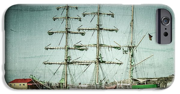 Pirate Ship Digital iPhone Cases - Green Sail iPhone Case by Perry Webster