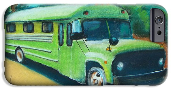 Automotive Pastels iPhone Cases - Green School Bus iPhone Case by Michael Foltz
