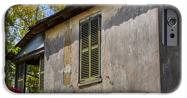 Spanish House iPhone Cases - Green Shutters Stucco Walls St Augustine iPhone Case by Rich Franco